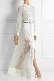Alessandra Rich Chiffon and lace bodysuit and maxi skirt set