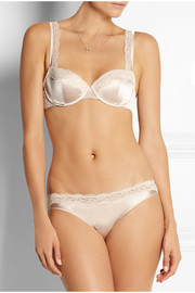 Stella McCartney Clara Whispering lace-trimmed stretch-silk balconette bra