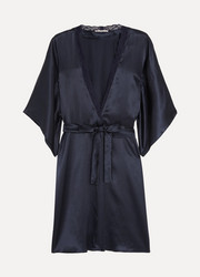 Clara Whispering lace-trimmed silk robe