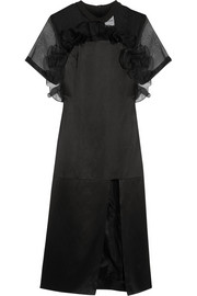 Sereia ruffled organza-paneled silk-satin dress