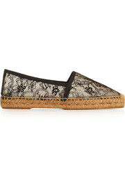 Lace and mesh espadrilles