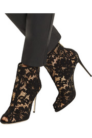 Dolce & Gabbana Lace and mesh peep-toe ankle boots