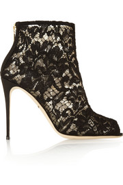 Lace and mesh peep-toe ankle boots