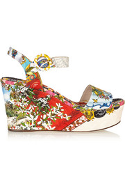 Printed brocade wedge sandals