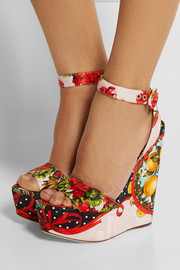 Dolce & Gabbana Printed brocade wedge sandals