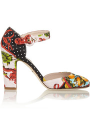 Printed brocade pumps