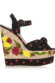 Polka-dot canvas and embroidered cork wedge sandals