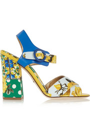 Printed brocade and leather sandals