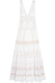 Roberto Cavalli Broderie anglaise cotton maxi dress