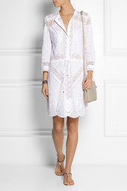 Roberto Cavalli Broderie anglaise cotton mini dress