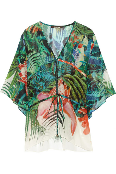 Roberto Cavalli - Printed Silk-georgette Kaftan - Green