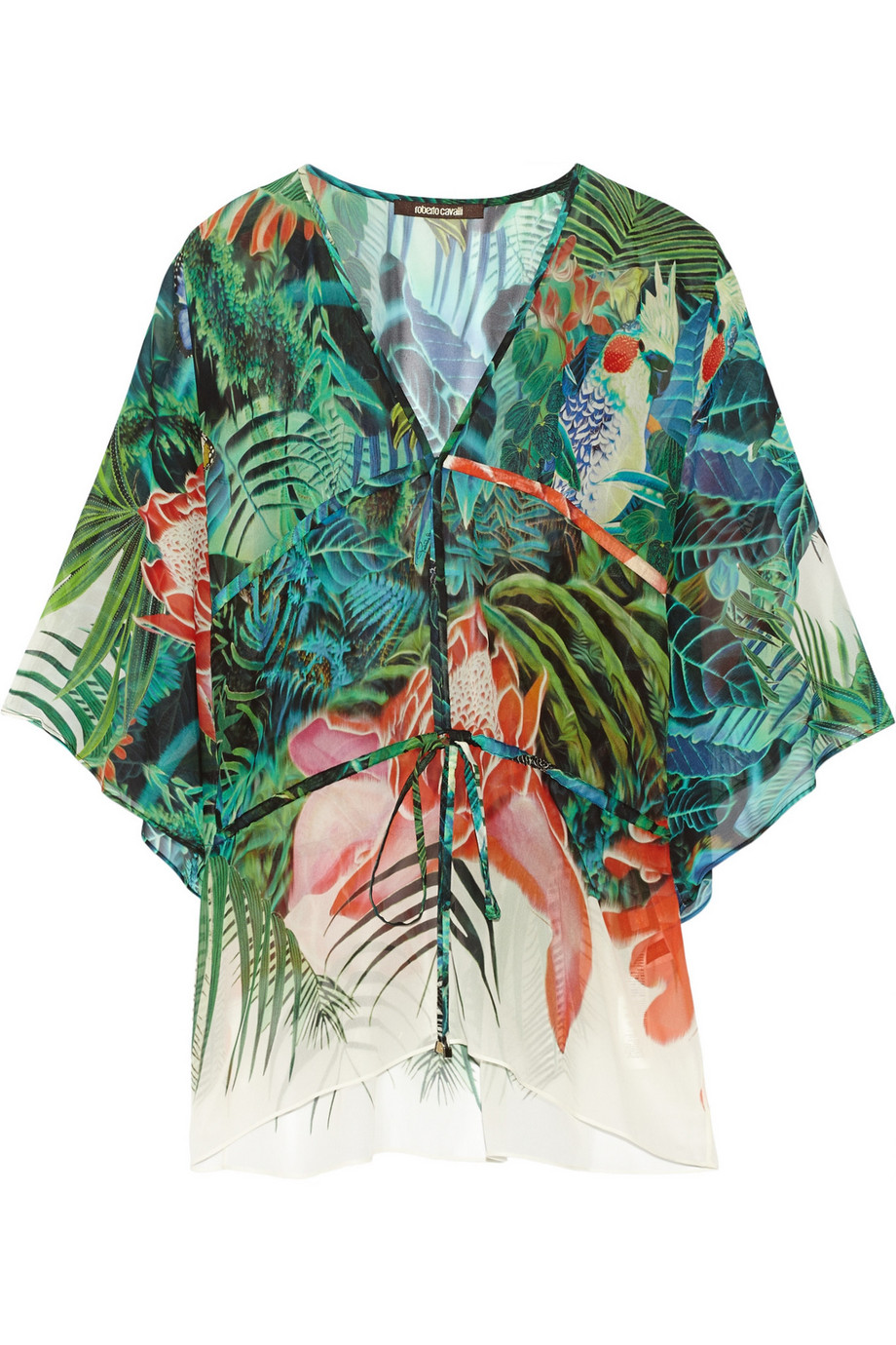 Roberto Cavalli Printed Silk-Georgette Kaftan, Green, Women's, Size: 40
