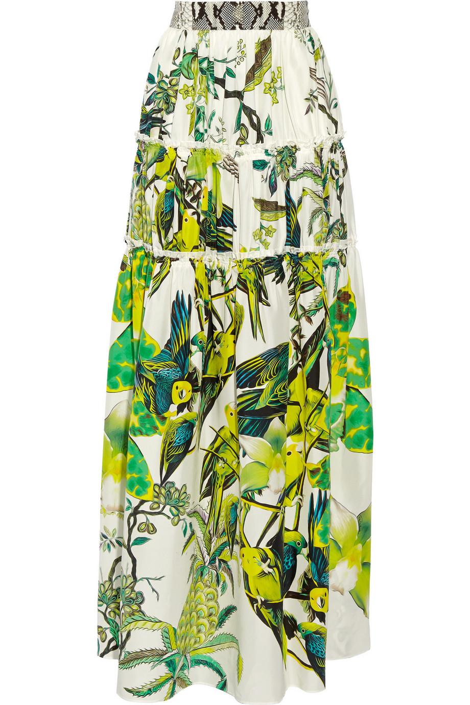 Roberto Cavalli Paneled Printed Silk-Satin Maxi Skirt, Size: 42