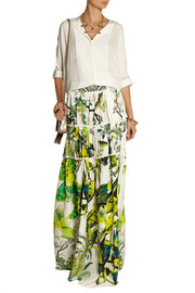 Roberto Cavalli Paneled printed silk-satin maxi skirt