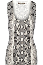 Snake-print cotton and silk-blend tank