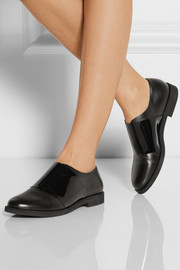 Paneled leather and PVC brogues