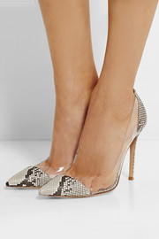 Gianvito Rossi Python and PVC pumps
