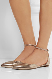 Gianvito Rossi Metallic leather point-toe flats