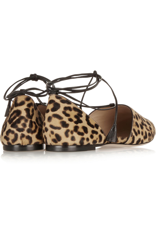 Gianvito Rossi Leopard-print calf hair point-toe flats