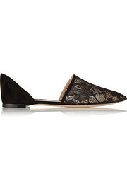 Gianvito Rossi Lace and suede point-toe flats