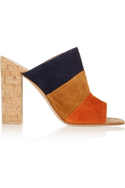 Color-block suede and cork mules