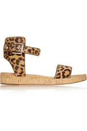Leopard-print calf hair and cork sandals