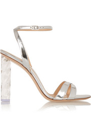 Perspex-heeled metallic leather sandals