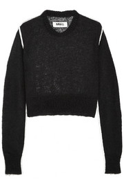 MM6 Maison Martin Margiela Satin-trimmed mohair-blend sweater