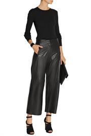 MM6 Maison Martin Margiela Cropped leather wide-leg pants