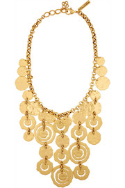 Oscar de la Renta Hammered gold-plated necklace