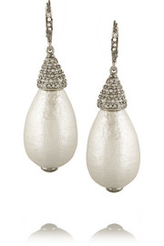 Silver-plated, crystal and faux pearl drop earrings