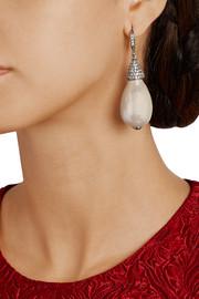 Oscar de la Renta Silver-plated, crystal and faux pearl drop earrings