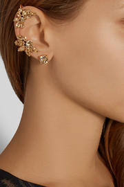 Oscar de la Renta Gold-plated crystal earring and cuff set