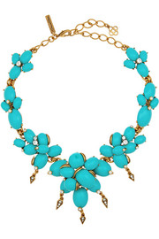 Oscar de la Renta Gold-plated, resin and crystal necklace
