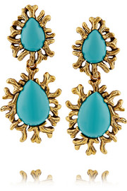 Oscar de la Renta Gold-plated resin clip earrings