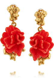 Oscar de la Renta Gold-plated, resin and crystal clip earrings