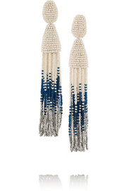 Beaded tassel clip earrings