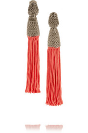 Oscar de la Renta Silver-plated tassel clip earrings