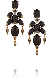 Gold-plated, cabochon and crystal clip earrings