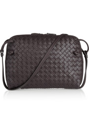 Messenger intrecciato leather shoulder bag