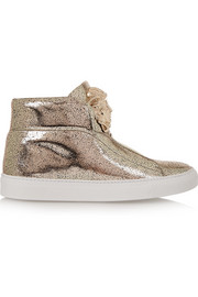 Versace Metallic textured-leather sneakers