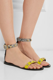 Versace Studded leather and python sandals