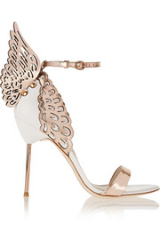 Evangeline metallic and patent-leather sandals