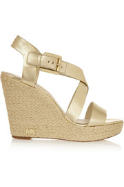 Giovanna metallic leather espadrille wedge sandals