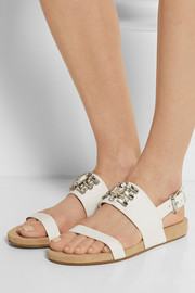 MICHAEL Michael Kors Luna crystal-embellished leather sandals