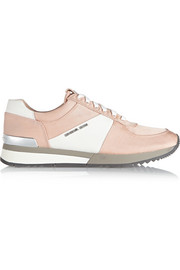 Allie satin and textured-leather sneakers