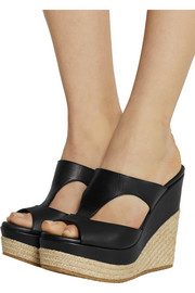 Pledge leather wedge sandals