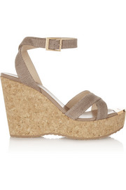 Papyrus lizard-effect leather wedge sandals