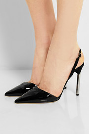 Jimmy Choo New Devout patent-leather and suede pumps