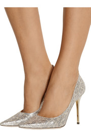 Jimmy Choo Abel glitter-finished satin pumps